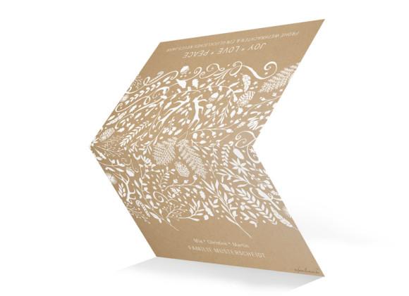 Weihnachtskarten Naturkraft Packpapier selbst gestalten, Außenansicht in Weiß