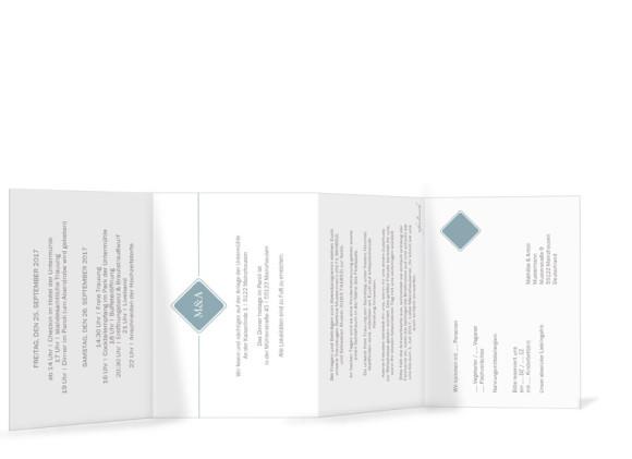 Hochzeitseinladungskarte Brüssel, Innenseite in Petrol