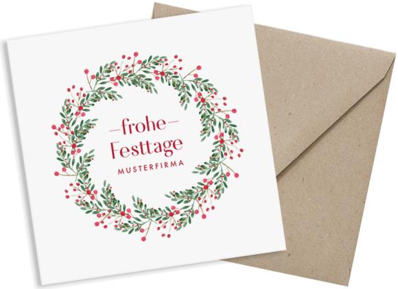 Postkarte quadratisch zu Weihnachten für Firmen, Motiv: Festtage, mit Briefhülle, Farbvariante: beerenrot