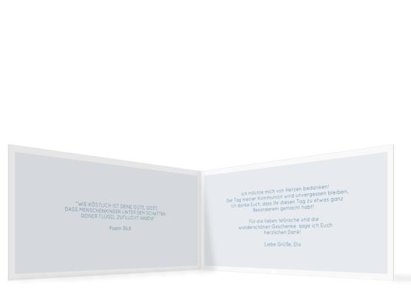 Danksagung zur Kommunion (Klappkarte DL mit Fotos), Motiv: Bedeutung, Innenansicht, Farbvariante: dunkelblau