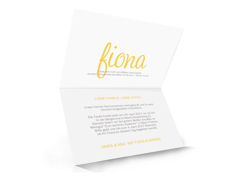 ... Einladungskarten Zur Taufe Sonne, Innenansicht In Gelb