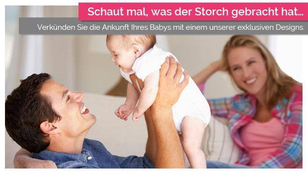 Verkünden Sie die Ankunft Ihres Babys mit einem unserer exklusiven Designs.