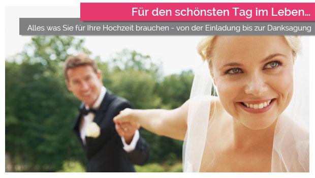 Alles was Sie für Ihre Hochzeit brauchen - von der Einladung bis zur Danksagung.